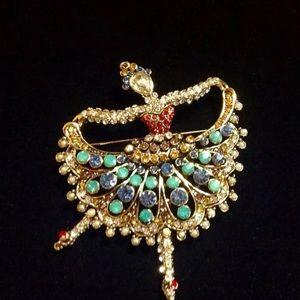 Vintage Gold Ballerina Fashion Brooch/Pin